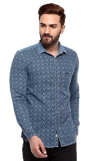 9206bafe1e1 SPEAK Mens Denim Prints Shirt  Amazon.in  Clothing   Accessories