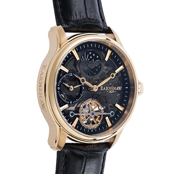 Thomas Earnshaw Longitude Shadow ES-8063-05 Montre automatique pour homme  Avec cadran noir à mécanisme apparent et bracelet en cuir noir  Amazon.fr   Montres e901893fc969
