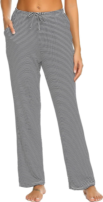 Hotouch Women Pajamas Pants Striped Comfy Loose Sleep Pants Lounge Pjs Bottoms