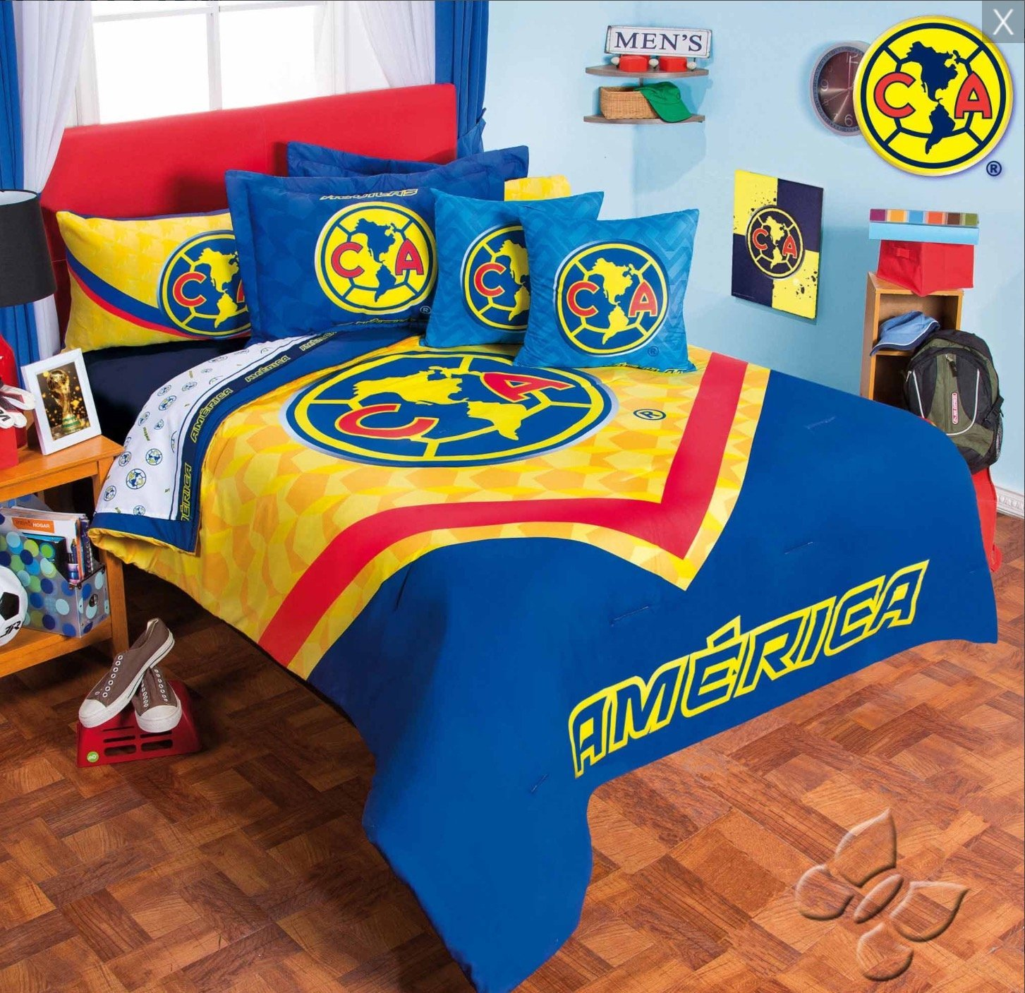 CLUB AGUILAS DEL AMERICA MEXICAN FOOTBALL ORIGINAL LICENSED COMFORTER SET AND SHEET SET 9 PCS QUEEN SIZE by JORGE'S HOME FASHION