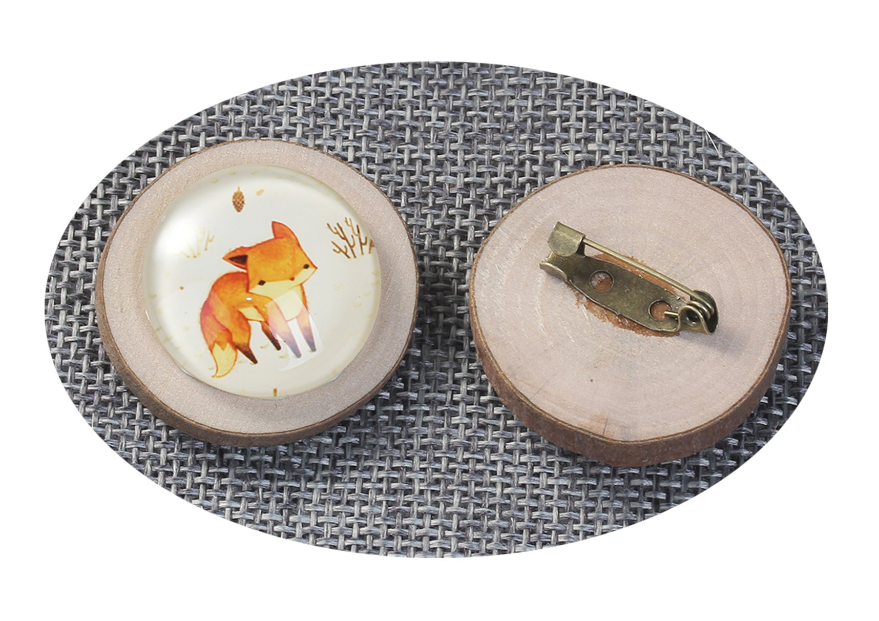 Best Wing Jewelry ''Fox Glass Cabochon'' on Natural Wood Pin Brooch