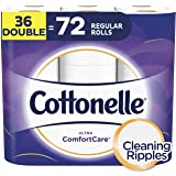 Cottonelle Toilet Paper, 36 Double Rolls, 142 Sheets Per Roll, 2-ply, Ultra ComfortCare, Soft Bath Tissue, Biodegradable, Septic-Safe