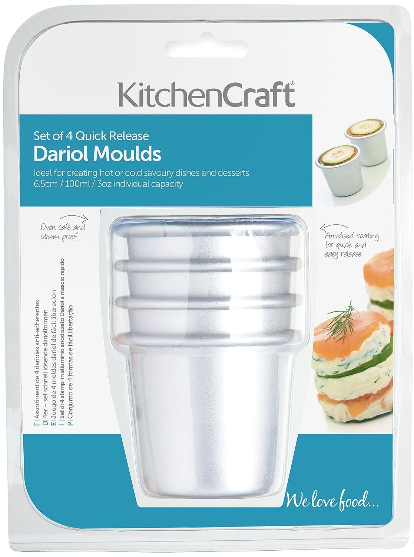 Kitchen Craft - Moldes de aluminio anodizado (4 unidades, 6,5 cm): Amazon.es: Hogar