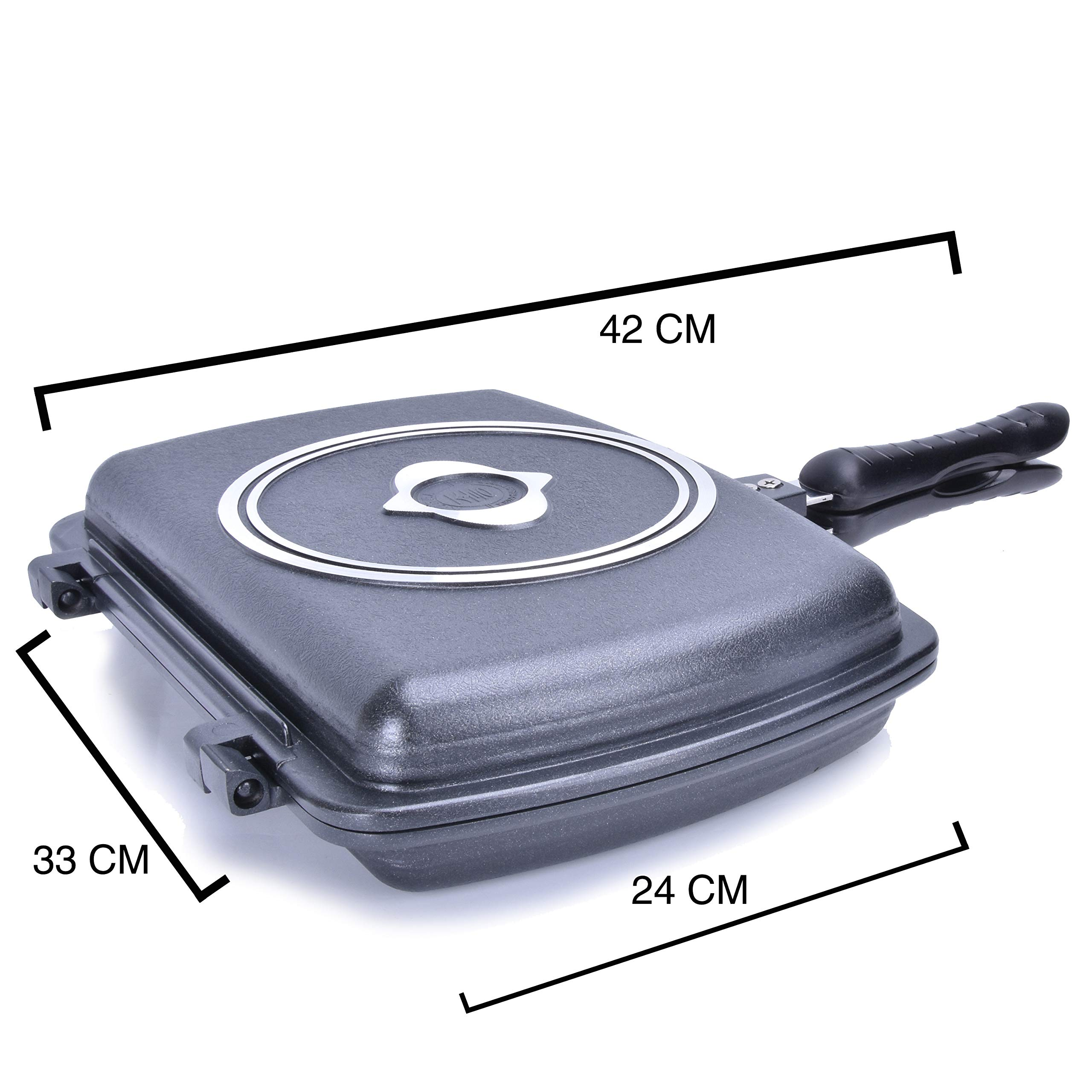 YONATA Double Sided Portable BBQ Grill Pan,Separate Detachable Double Pan Nonstick Barbecue Plate For Indoor and Outdoor Cooked Chicken,Fish,Egg by YONATA (Image #2)