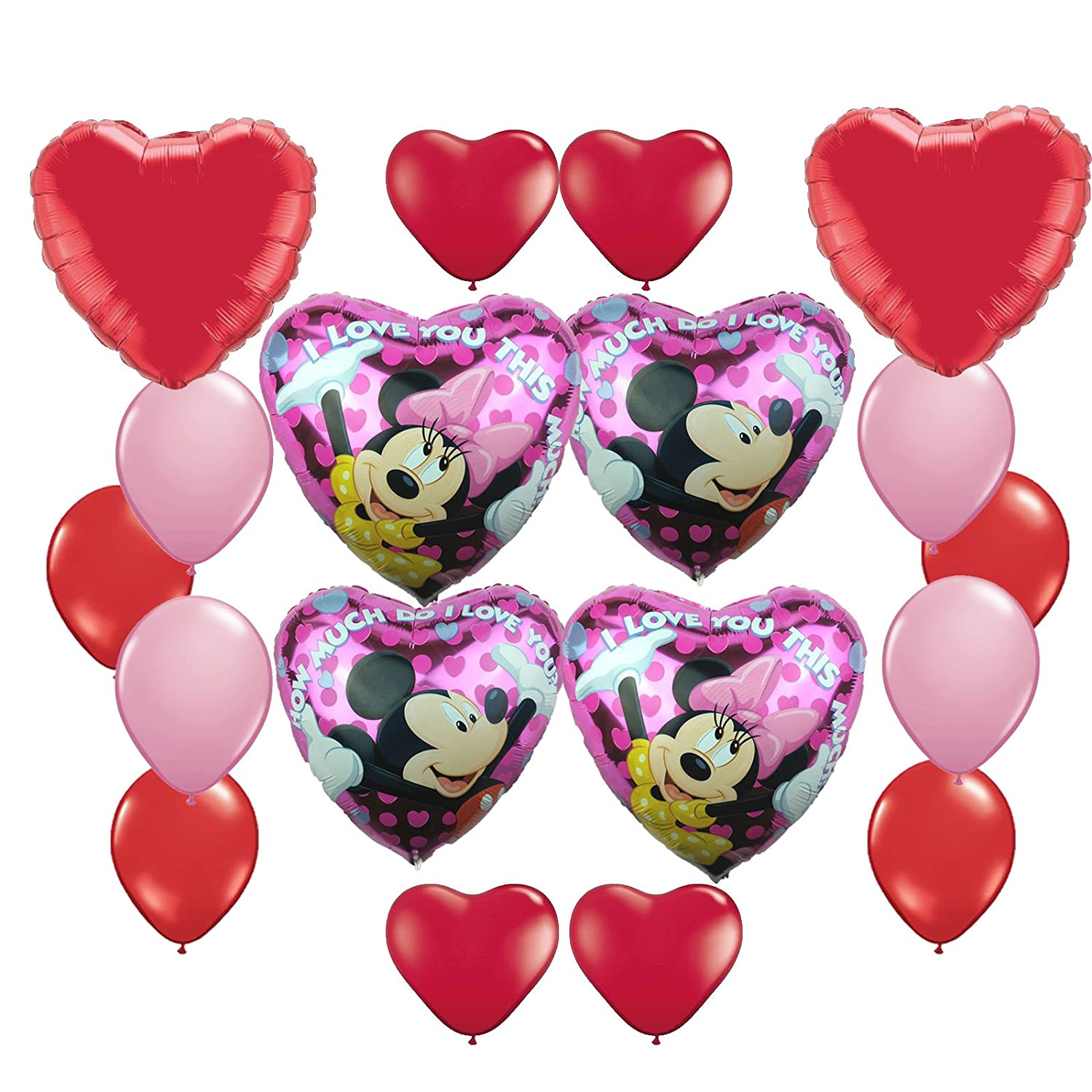 amazoncom mickey mouse and minnie mouse valentine day heart balloon bouquet 16 pc toys games