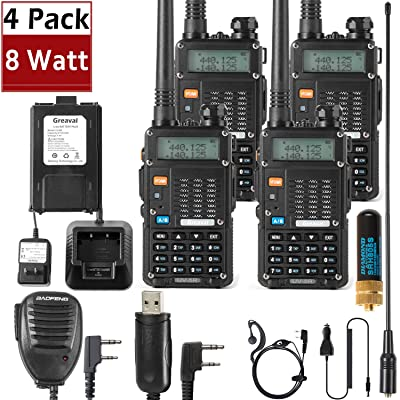 Ham Radio Walkie Talkie (UV-5R 8-Watt) UHF VHF Dual Band 2-Way Radio with 8 Rechargeable 2100mAh Battery Handheld Walkie Talkies Complete Set with Earpiece and Programming Cable (4 Pack): Car Electronics