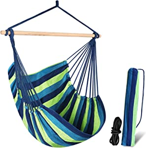 Chihee Hammock Chair Swing Chair Hanging Chair for bedrooms Max 330 lbs Pretty Stripe Boho Tree Hanging Seat Comfy Chair Patio Lawn Chair Cotton Weave for Superior Comfort Durability Indoor Outdoor