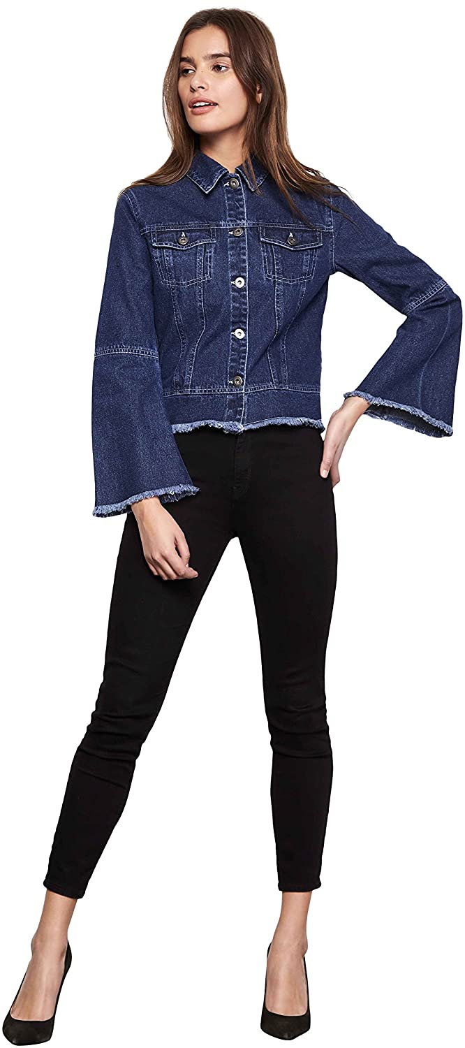 dbf25a20815d Button closure. Hand Wash Denim jacket. Bell sleeves. Button front. Two  breast pockets. Raw edge hem. Show more. Bell sleeve denim jacket to go  with any ...