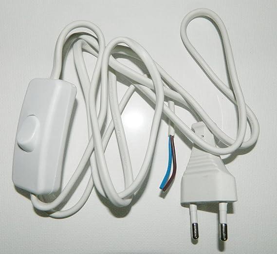 kit fil cordon + prise + interrupteur blanc pour montage