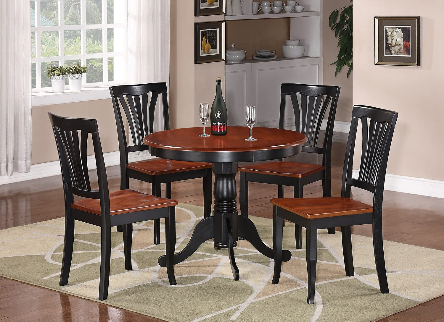 5 PCS Dining Set Dining Room Table and High Back Chairs Wood Legs Grey Wash Oak