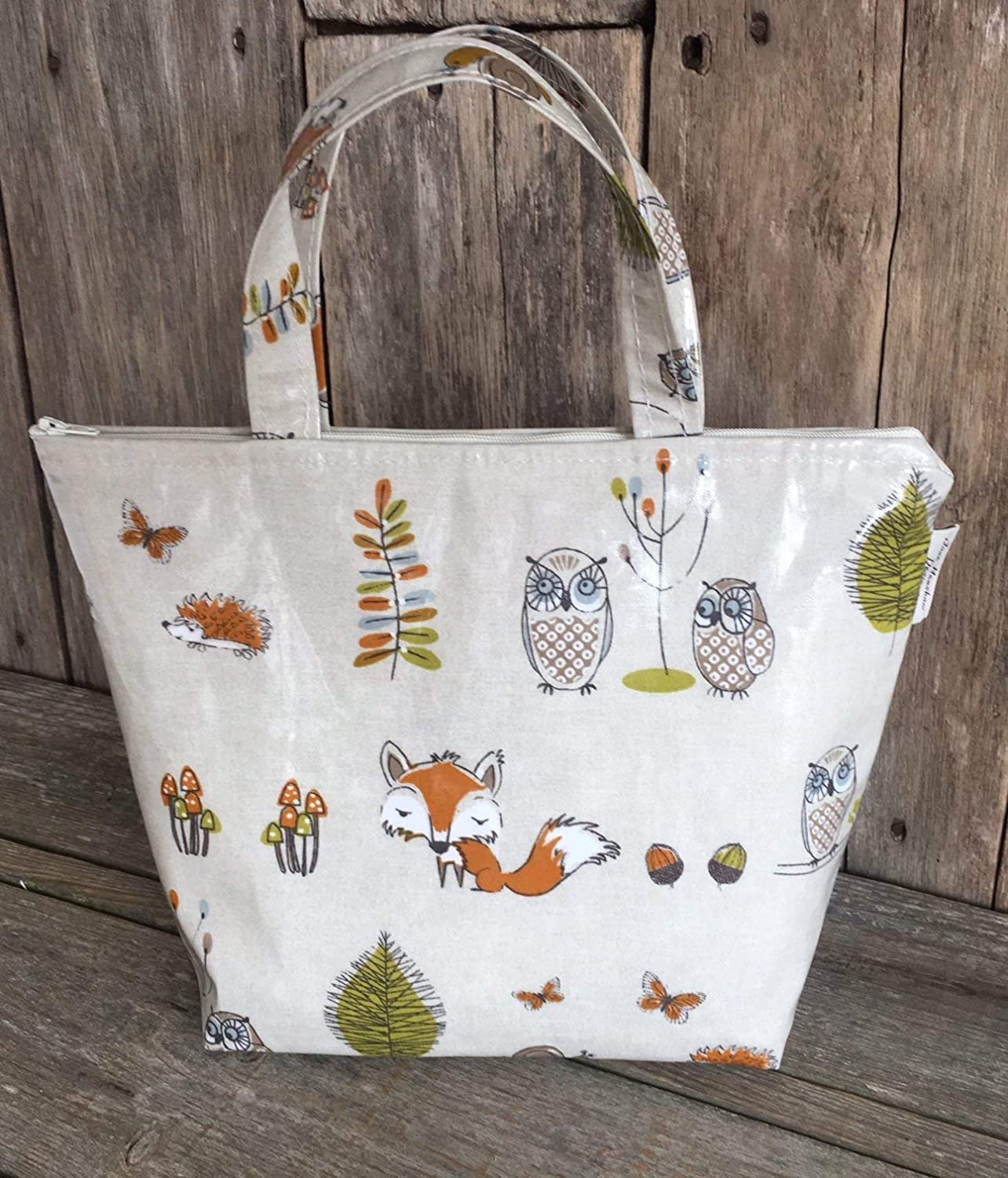 Insulated lunch bag, cool Bag, picnic Bag, school Bag, woodland fox and owl oilcloth