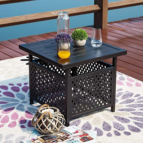 Festival Depot 21″ Patio Outdoor Steel Side Table Stand