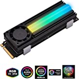 EASYDIY アドレサブル RGB SATA M.2 NVMe SSD NGFF - 2280 SSDクーラー ヒートシンク 20mm冷却ファン付き, M.2冷却フィン,ヒートシンク用放熱 (サーマルパッド付き), 専用放熱板, 熱暴走対策 (SSDは含まれていません)