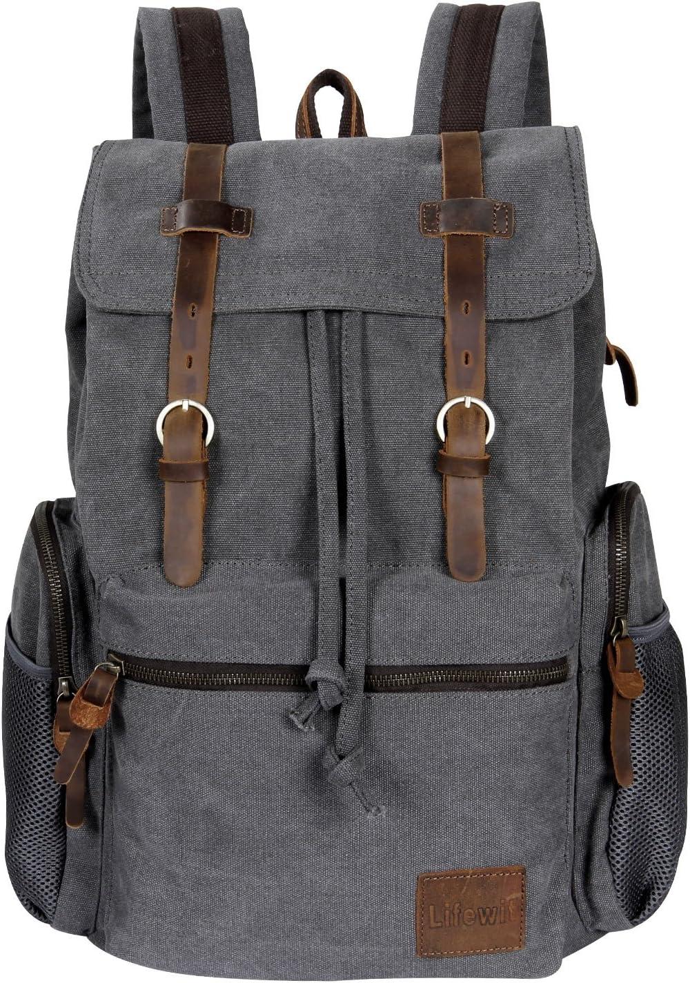 Lifewit 17 inch Canvas Backpack Vintage Leather Laptop School Bag Travel Daypack