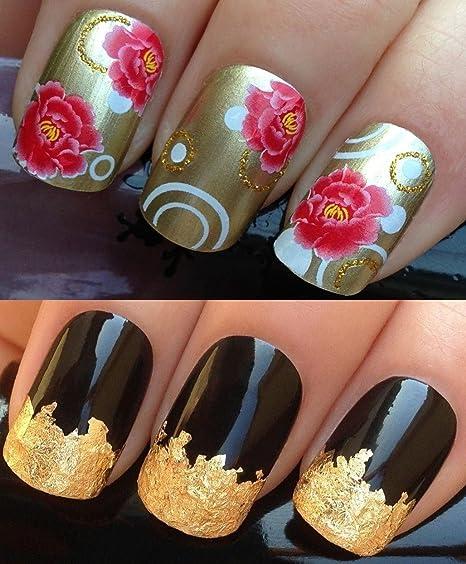 Pegatinas para uñas, lámina de pan de oro, diseño de flores, rojo y dorado, ...