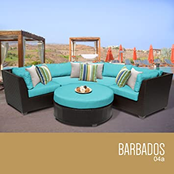 TK Classics 4 Piece Barbados Outdoor Wicker Patio Furniture Set, Aruba 04a