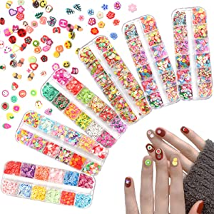 Laza Fruit Nail Art Slices, 3D DIY Nail Art Fimo Slime Supplies Stickers Decoration Colorful Apple Kiwi Fruit Banana Lemon Strawberry Watermelon for DIY Crafts, Nail Art and Cellphone Decoration