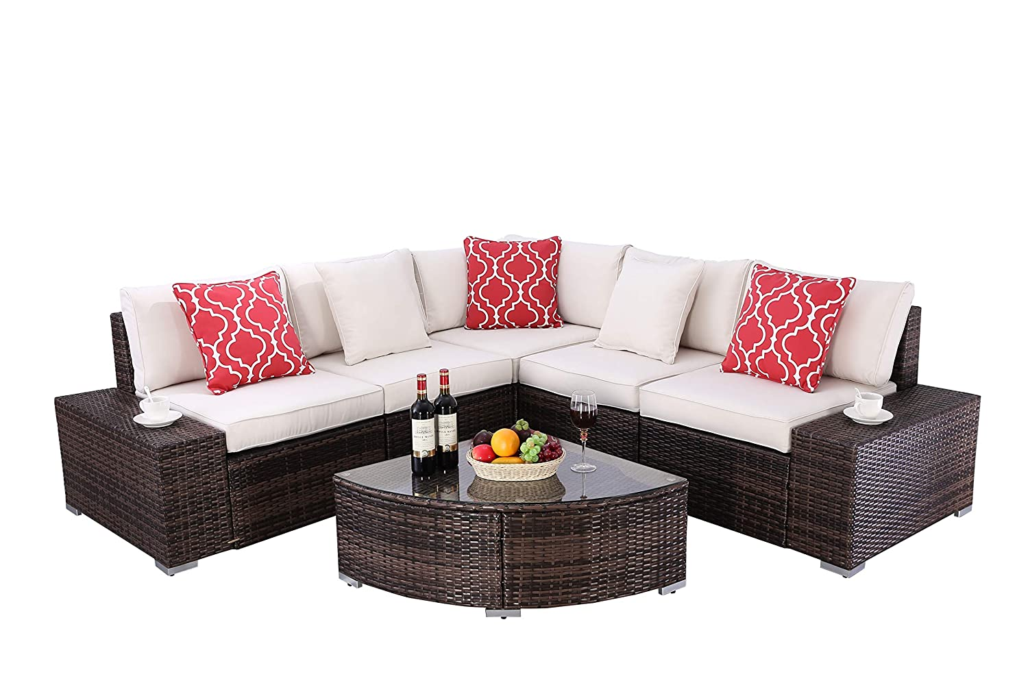 Do4U 6 Pieces Outdoor Patio Furniture Sectional Conversation Set, All-Weather Wicker Rattan Sofa Beige Seat Back Cushions Brown