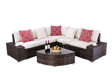 Amazon.com: Do4U - Juego de 6 piezas de muebles de ratán ...