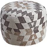 Signature Design by Ashley A1000383 Abraham Pouf, White/Brown