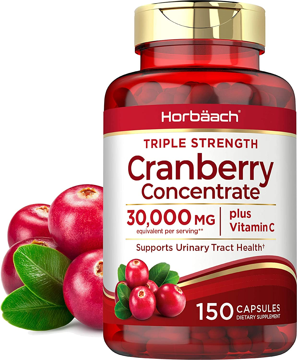 Horbaach Cranberry (30,000 mg) + Vitamin C 150 Capsules | Triple Strength Ultimate Potency | Non-GMO, Gluten Free Cranberry Pills Supplement from Concentrate Extract: Health & Personal Care