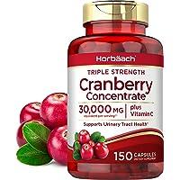 Horbaach Cranberry (30,000 mg) + Vitamin C 150 Capsules   Triple Strength Ultimate Potency   Non-GMO, Gluten Free…