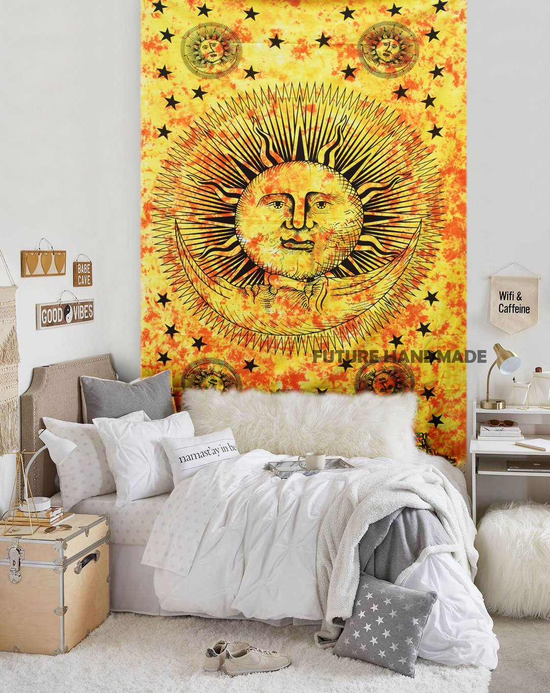QEES Psychedelic Bohemian Wall Art Tapestry Colorful Abstract Trippy ...