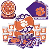 Clemson Tigers Party Pack   Plates, Cups, Napkins   Serves 8