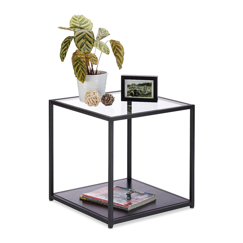 Relaxdays Beistelltisch Glas+Holzablage, Metallgestell, robust, quadratisch, Flacher Couchtisch HBT 50x50x50 cm, schwarz 10023142