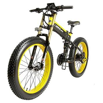 lankeleisi 26 pulgadas Fat tire bicicleta eléctrica plegable 48 V10AH Shimano 27 velocidad llena Suspensión Snow