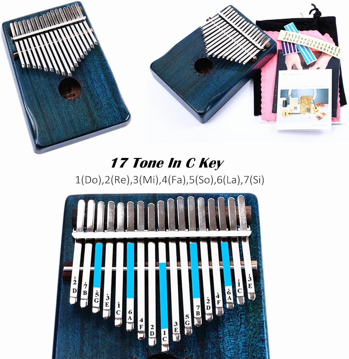 Jroyseter Carimba Thumb Piano 17 Tone Massivholz Piano Box Ore Metal Key Aussprache Genaue Resonanz Sch/önes Instrumentenzubeh/ör 1