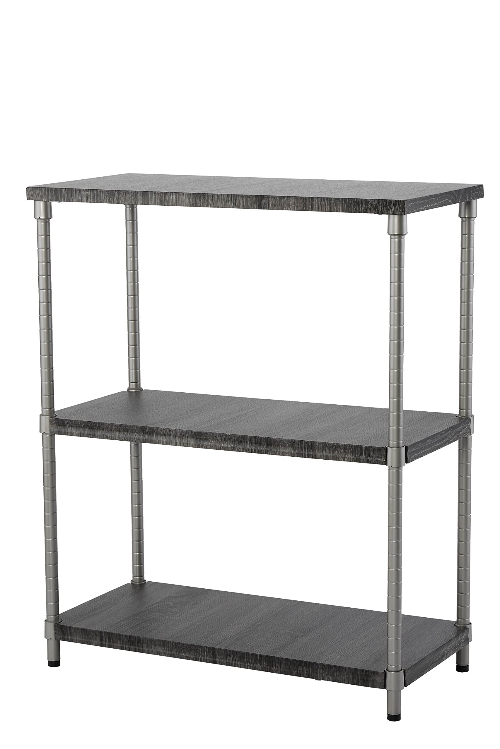 Home Zone Bookcase Storage Rack with 3-Tier Wide Shelving Unit | | Steel and Wood with Satin Nickel Finish, by Home Zone