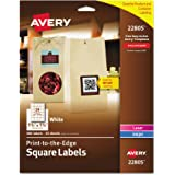 avery easy peel print to the edge permanent white square labels