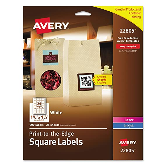 amazoncom avery easy peel print to the edge permanent white square labels true block 15 x 15 pack of 600 22805 all purpose labels office