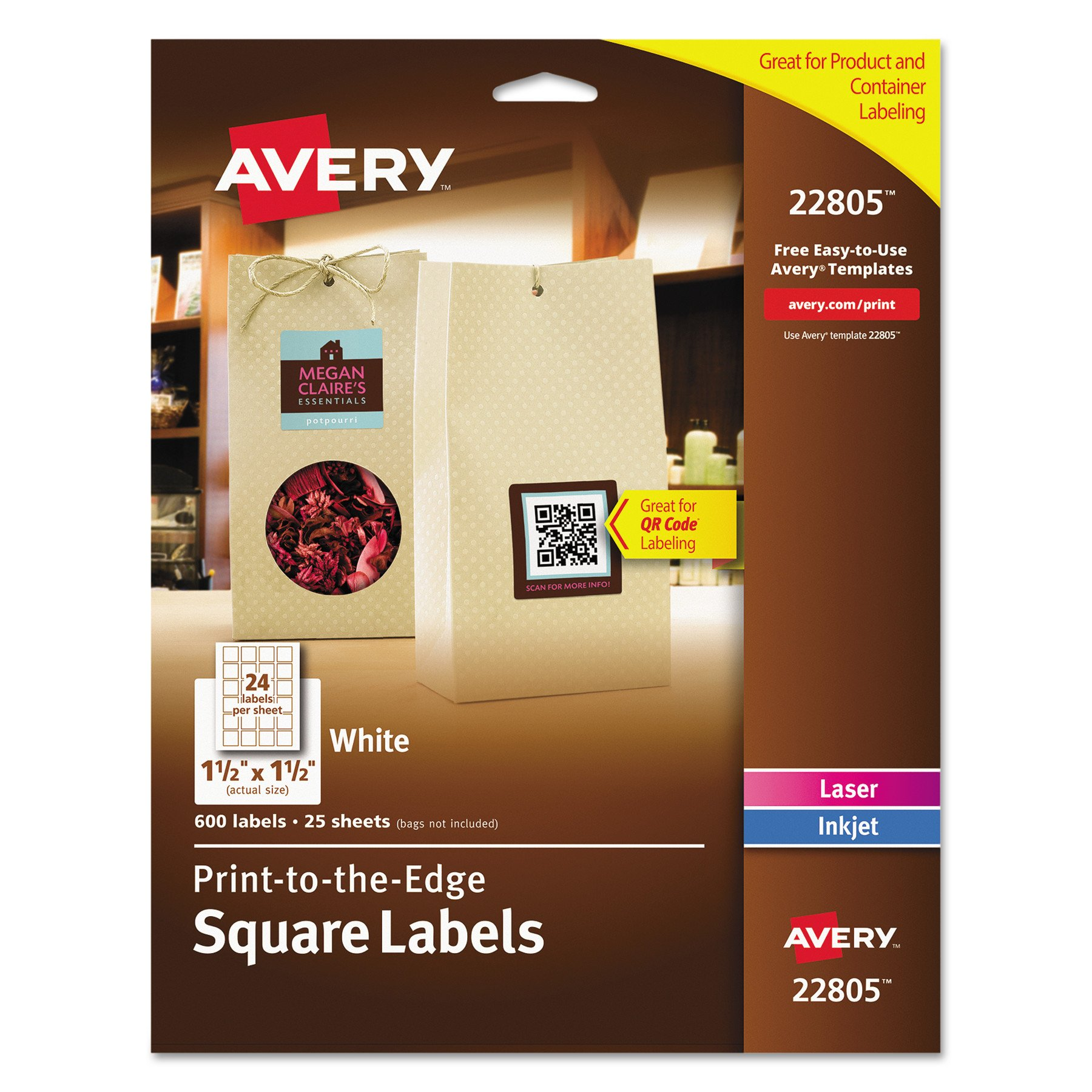 Avery Easy Peel, Print-To-The-Edge, Permanent White Square Labels, True Block, 1.5'' x 1.5'', Pack of 600 (22805)
