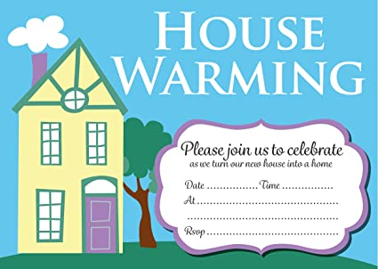 House Warming Party Invitation Cards Yellow House Design