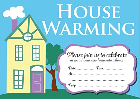 House Warming Party Invitation Cards, Yellow House Design (With Envelopes)