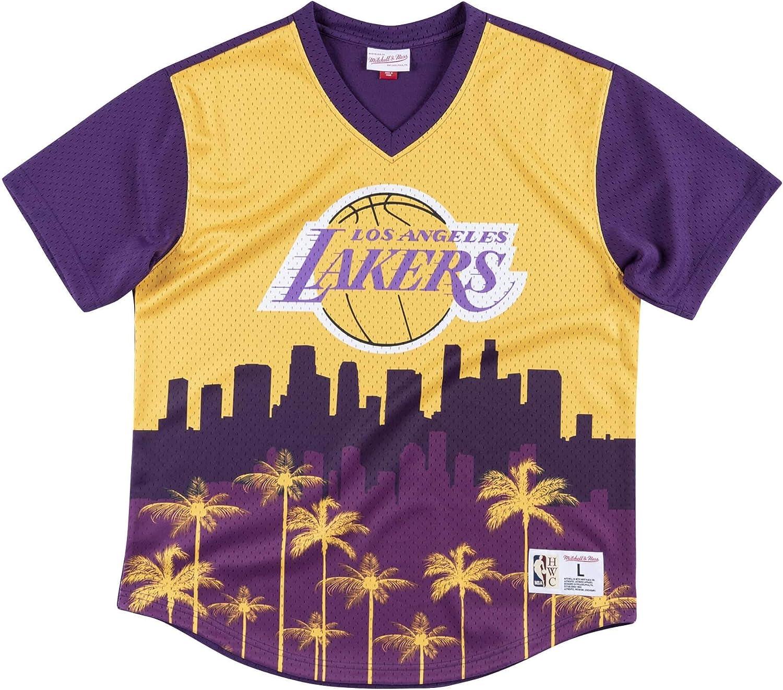 Mitchell /& Ness Game Winning Shot Mesh V-Neck Los Angeles Lakers Yellow//Purple