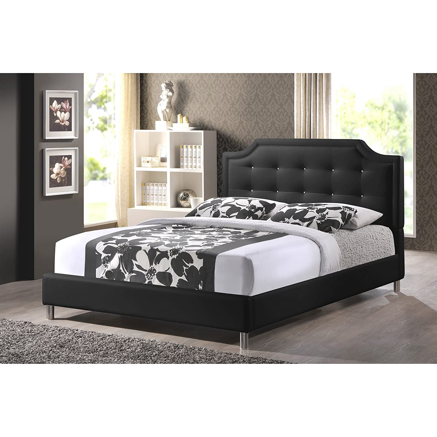 amazoncom baxton studio carlotta modern bed with upholstered  - amazoncom baxton studio carlotta modern bed with upholstered headboardblack  x  x  kitchen  dining