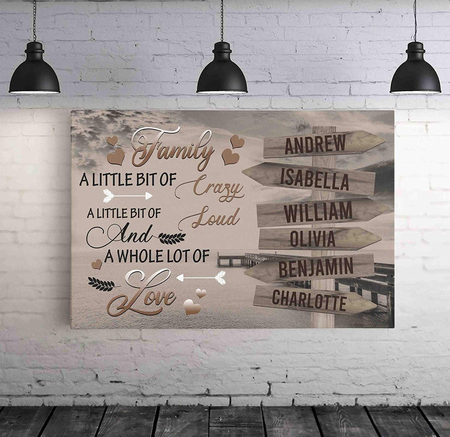 Personalized Street Sign Multi Name Canvas Poster Print Ocean Dock Quotes Family A little Bit Of Crazy Horizontal Poster Hang Wall Home Decor No Frame or Canvas 0.75 Inch Frame Gifts for Mothers Day