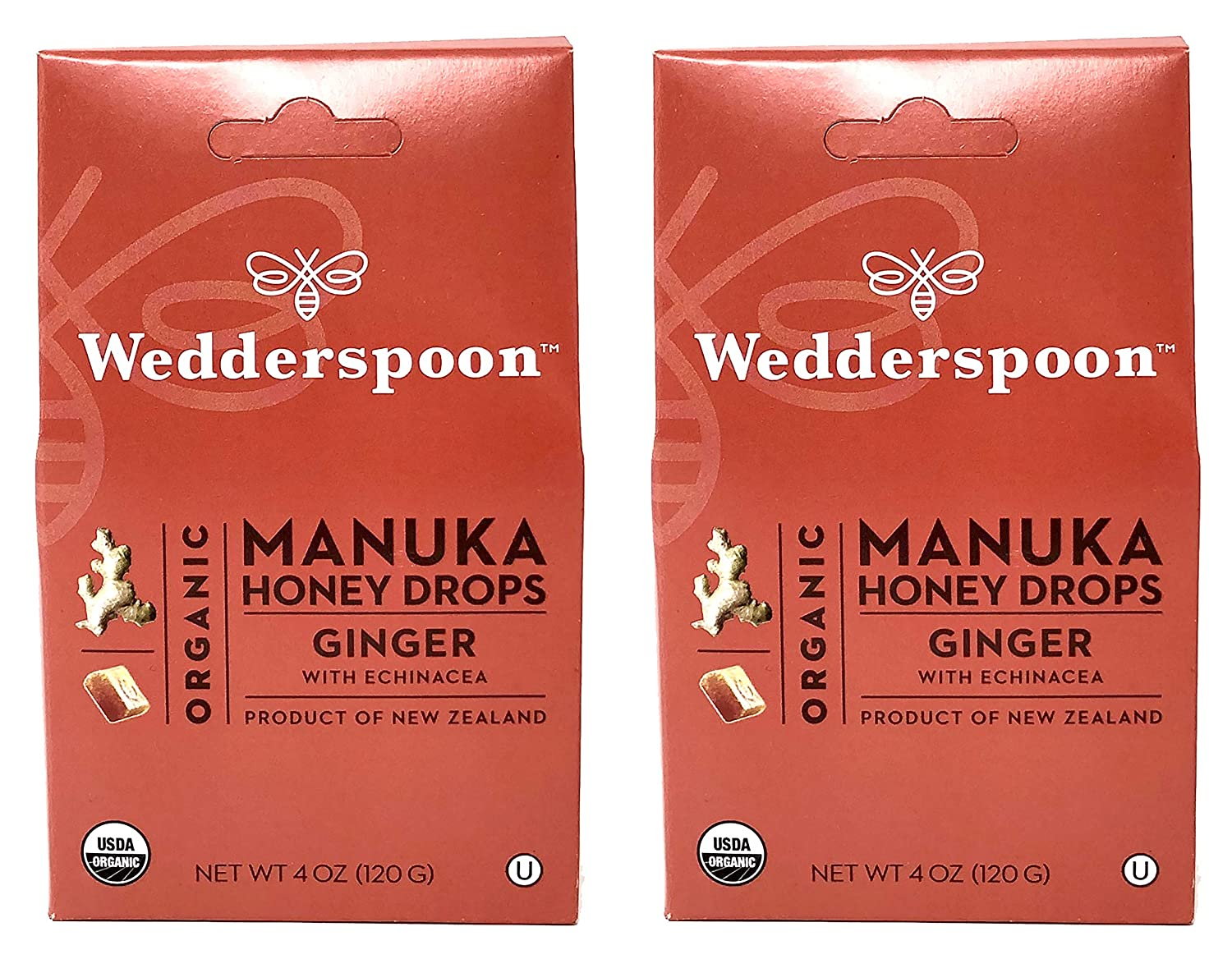 Wedderspoon Organic Manuka Honey 67% OFF of fixed price Drops Ginger 5% OFF 2 Pack