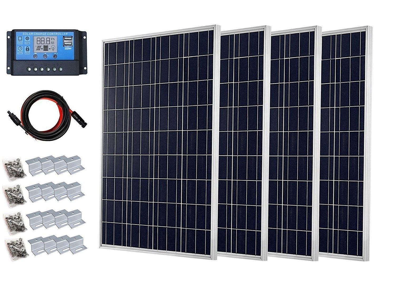 Sistema completo de 400 W, panel solar de 400 W + pantalla LCD de 20 A, controlador de carga PWM + adaptador de cable solar de 16 pies + soporte de ...