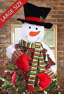luck sea Christmas Tree Topper Snowman Hugger - Xmas/Holiday/Winter Wonderland Party Decoration Ornament Supplies