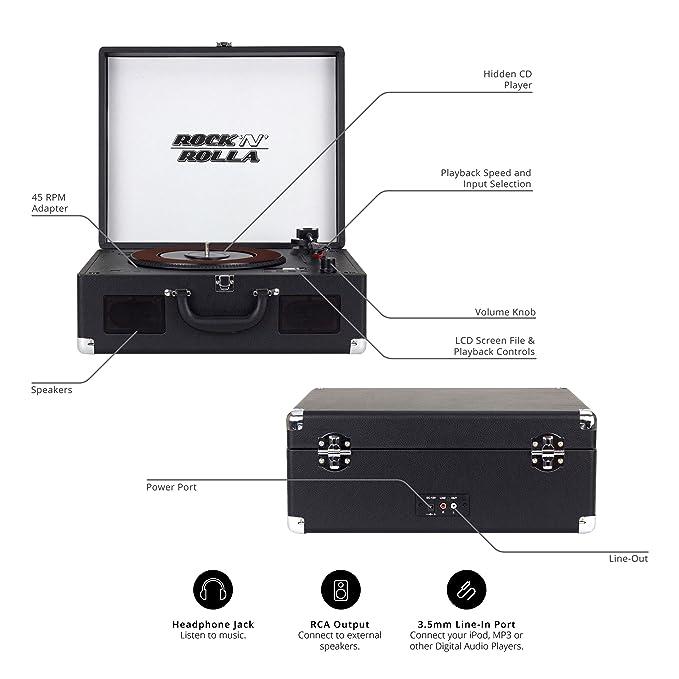 Amazon.com: Rock n Rolla XL – Portable Bluetooth USB Vinyl ...