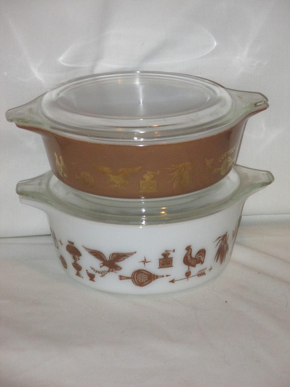 4 Piece Set - Vintage 1960's Pyrex Early American 1 Pint & 1 1/2 Pint Casserole Baking Dish w/ Lid