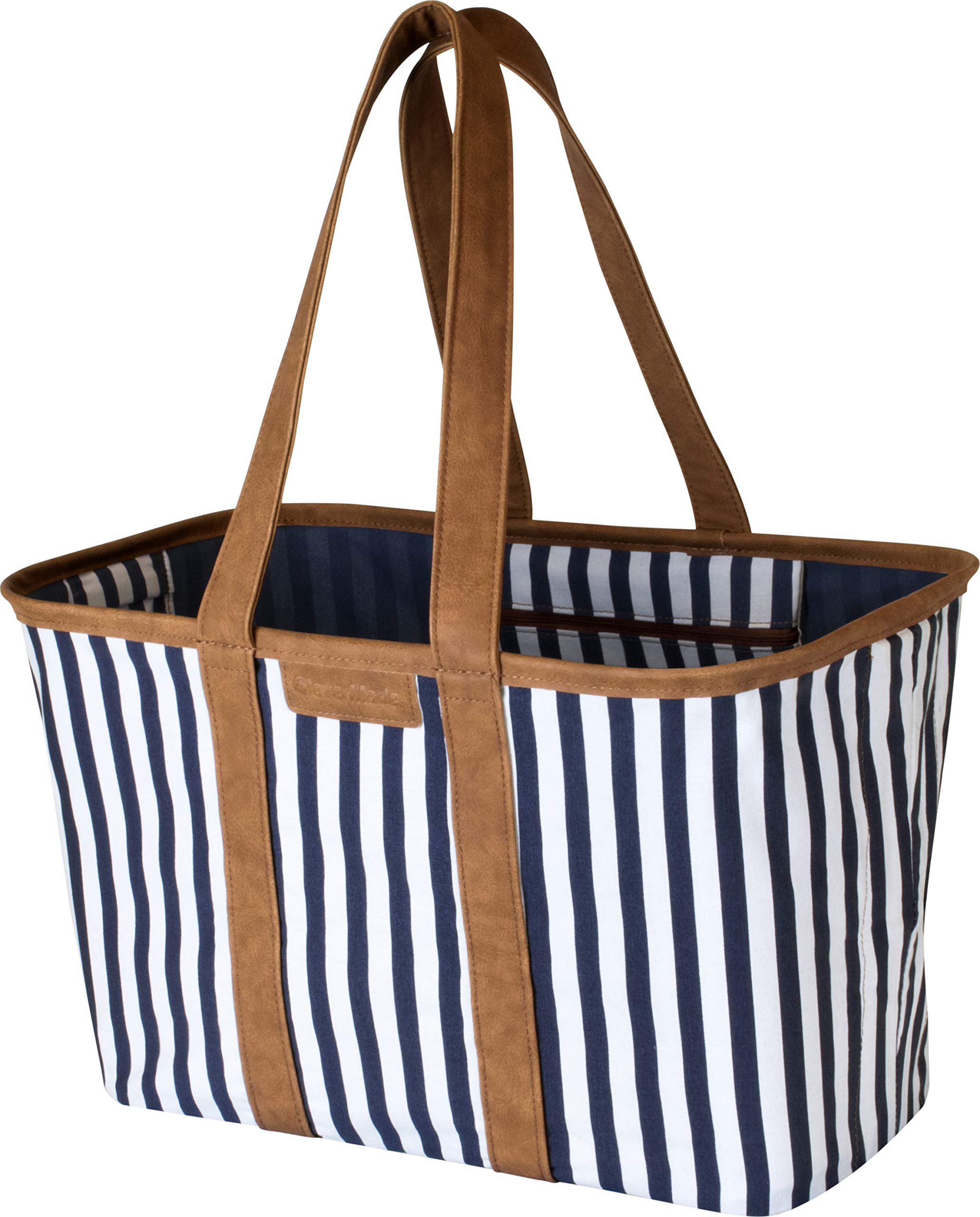 CleverMade 30L SnapBasket LUXE - Reusable Collapsible Durable Grocery Shopping Bag - Heavy Duty Large Structured Tote, Navy Striped by CleverMade