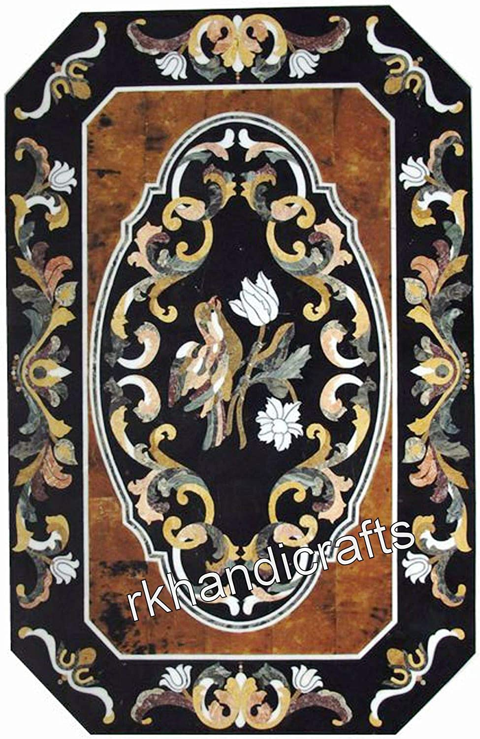36 x 60 Inches Black Marble Reception Table Top Inlay Dinning Table with Ancient Art and Craft from India Perfect for Home Decorative Furniture