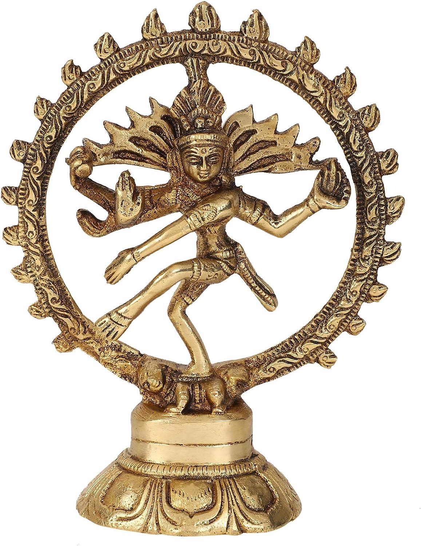 GURU JEE Brass Statue Dancing Lord Shiva Natraja Hindu God Natraj Showpiece Gifts Home Decor 5.5 Inch