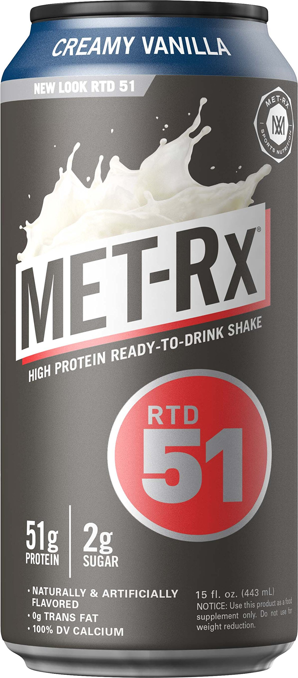 Amazon.com: MET-Rx RTD 51 Protein Shake, Ready to Drink and Convenient for Meal Replacement, Low Carb, Creamy Vanilla, 15 oz, 12 Count: Health & Personal ...