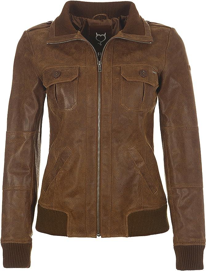 DESIRES Zalla Damen Lederjacke Bikerjacke Echtleder Mit Reverskragen, Größe:XS, Farbe:Cognac (5048)
